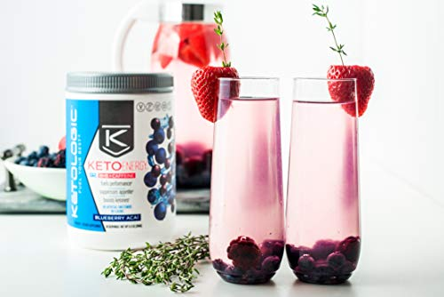 KetoLogic BHB Exogenous Ketones Powder with Caffeine (30 Servings) - Keto Pre-Workout, Boosts Ketosis, Energy & Focus - Support Keto Diet with Beta-Hydroxybutyrate Keto BHB Salts - Blueberry Acai 2