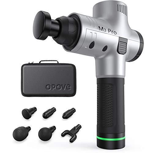 OPOVE Massage Gun Muscle Massager Deep Tissue Percussion Portable Handheld Electric Body Massager Sports Drill Super Quiet Brushless Motor Cordless for Muscle Deep Relaxation, opove M3 Pro Silver