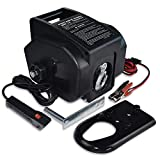 Hantun Trailer Winch,Reversible Electric Winch, for Boats up to 6000 lbs 12V DC,Power-in, Power-Out, and Freewheel Operations, with Corded Remote Control & Hand Crank