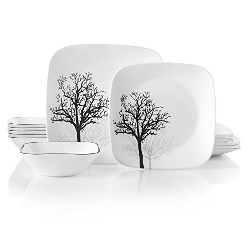 Corelle Service for 6, Chip Resistant, Timber Shadows Dinnerware Set, 18-Piece