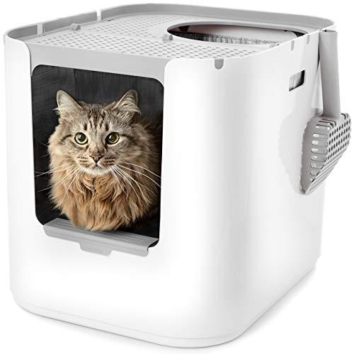 Modkat XL kattenbak | Ingang aan de voor- en bovenkant | Geweldig design | Minder bijhouden van kattenbakvulling