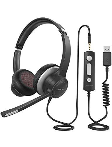 Mpow 328 Cuffie USB /3.5 mm per Computer con Microfono, Cuffie Business Leggere con Scheda Audio per La Riduzione del Rumore, Controllo in Linea per Skype, MS Team,Zoom, PC, Cellulare