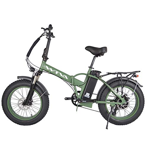 Product Image 1: Adult Electric Bike, 20 Inch Fat Tire Folding Electric Bicycles 48V 750W Motor 13AH Lithium-Ion Battery, Beach Snow Hunting City 7 Speed Cycling E-Bikes for Women Men (Green)