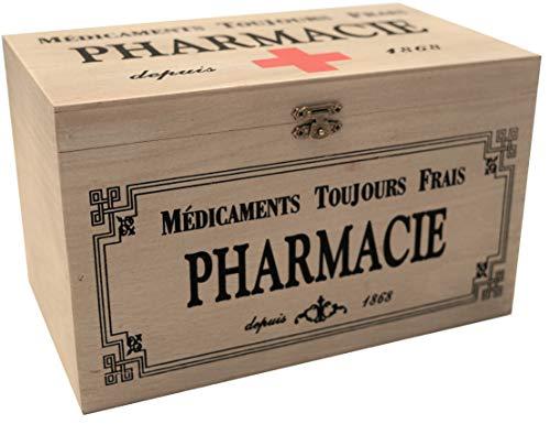 Khevga - Caja con tapa de madera y decoración con motivos de farmacia 23 x 13 x 13 cm