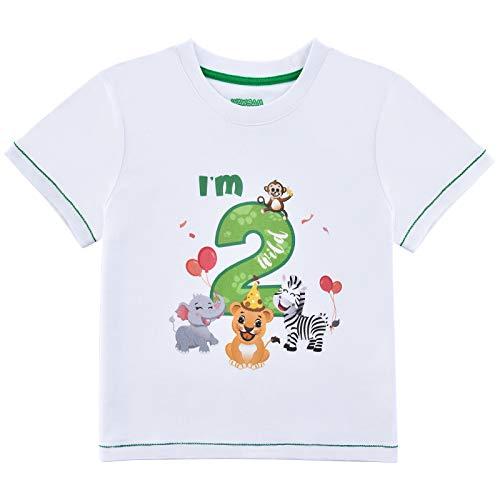 2°Compleanno Maglietta - T-Shirt Compleanno 2 Anno Animale della Giungla Maniche Corte Stampata in Cotone 100% per Una Festa di Compleanno di Un Anno nella Giungla(Bianca, 2-3 Anni)