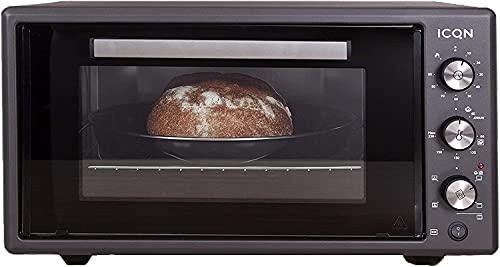 ICQN 50 Liter Minibackofen   1400 W   Umluft   Pizza-Ofen   Doppelverglasung   Drehspieß   Timer   inkl. Backblech Set   Elektrischer Mini Ofen   40°-230°C   Emailliert Black   Anthrazit