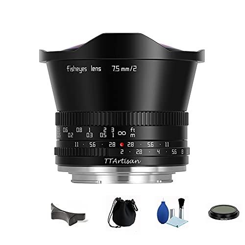 TTArtisan 7.5mm F2 APS-C 魚眼 レンズ 180° 超広角 大口径 倍率 マニュアルフォーカス レンズ 富士フイルム X マウントミラーレスカメラ用 ND1000フィルター付き