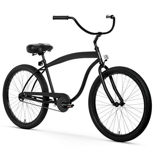 sixthreezero Men's in The Barrel 3-Speed Beach Cruiser Bicycle, Matte Black w/Black Seat/Grips, 26' Wheels/ 18' Frame