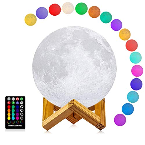 LOGROTATE Moon Lamp 3D Printing 16 Colors LED Moon Light with Stand and Time Setting (7 inch) & Remote & Touch Control, Hanging Lunar Global Lights for Birthday Kids Gifts Lovers Gifts