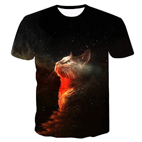 Maglia - T-Shirt Gattino - Maglia Gatto - Galassia - Galaxy - Kawaii - Stelle - Maniche Corte - 3D - Femmina - Donna - Maschio - Uomo - Idea regalo originale - Divertenti - Misura XXXL - C022