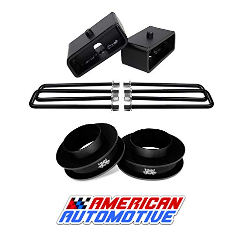 American Automotive Compatible 1999-2007 Silverado Lift Kit 2WD 3' Front Spring Spacers + 2' Rear Blocks Made Road Fury Series