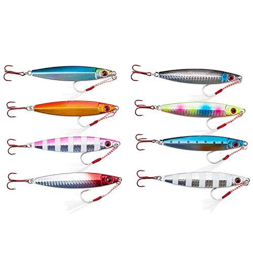 【オルルド釣具】メタルジグD 8色セット 9.8cm 60g アシストフック付 &魚に見えにくい赤フック採用 オール...