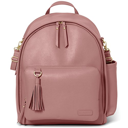 Skip Hop Diaper Bag Backpack: Greenwich Multi-Function Baby Travel Bag with Changing Pad and Stroller Straps, Vegan Leather, Dusty Rose