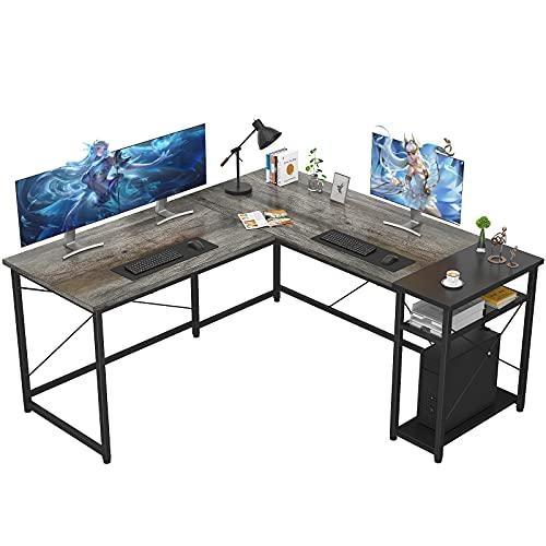 Ecoprsio L-Shaped Desk Large L Shaped Gaming Desk with Storage Shelves...