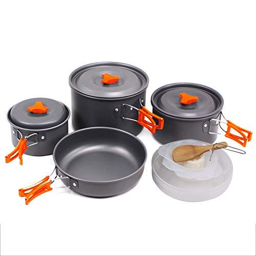 SKYSPER Pentole da Campeggio Antiaderente, Kit da Cucina in Lega di Alluminio 24 Persone Resistente all'Attrito e ad Alta Temperatura per Campeggio Escursione Set per Cucinare Nero