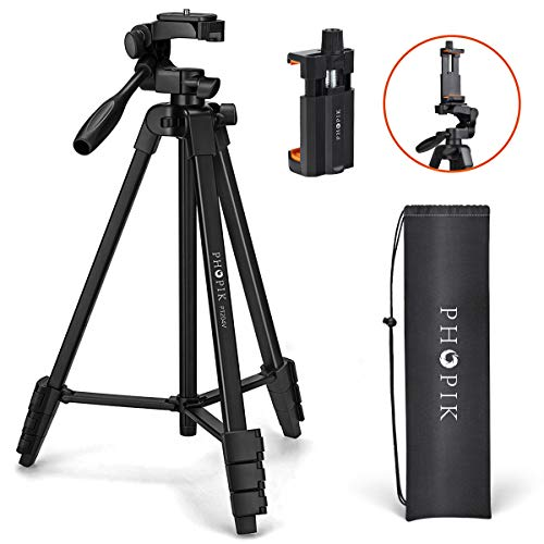 "PHOPIK Lightweight Phone Tripod 55-Inch, Video Tripod with 360 Panorama and 1/4"" Mounting Screw for Mirrorless/Gopro/DSLR Camera, Phone Holder for Smartphone, Max Load 6.6 Lbs, Carry Bag Inclued."