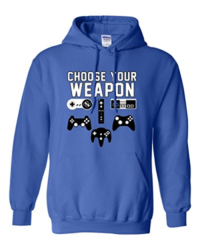 City Shirts Choose Your Weapon Gaming Console Gamer Funny DT Sweatshirt Hoodie (XX Large, Royal Blue)