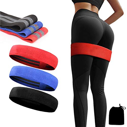 Slyk Non Slip Fabric Resistance Loop Bands for Squat Legs Butt Thighs Hip Glutes Yoga Pilates Workout Exercise Fabric Bands for Men Women, Pack of 3 (Small + Medium + Large)