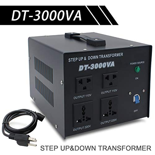 LVYUAN Voltage Transformer Converter 3000 Watt Step Up/Down Convert from 110-120 Volt to 220-240 Volt and from 220-240 Volt to 110-120 Volt with 2 US outlets, 2 Universal outlets, Circuit Breaker