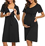 ADOME Camisón de manga corta para mujer, con botón, para embarazadas y...