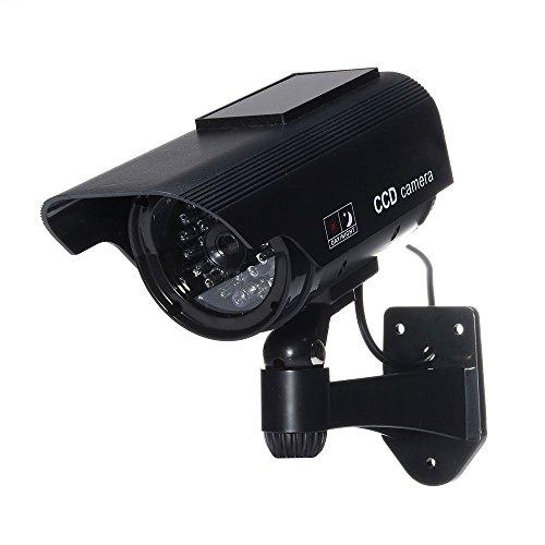 Tech Traders, Finta telecamera di sicurezza TVCC TTBSDC, impermeabile, con pannello solare, colore: nero