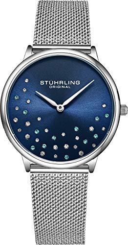 Stuhrling Original Damenuhr Krystal Analog Watch Dial, Edelstahlgewebe Armband 3928 Uhren für Damen Kollektion (Blue)
