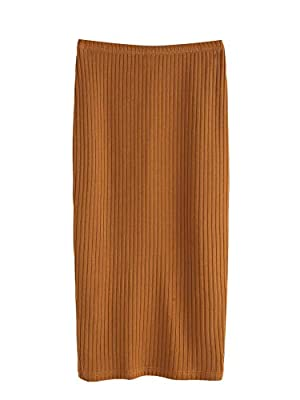 95% Polyester, 5% Spandex, Fabric is very stretchy High Waist, rib-knit, vented, back split, long/full length, pencil skirt Basics and elegant, cute looking with crop top, cami, tee shirt, blouse Suitable for casual, vacation, school, work and daily ...