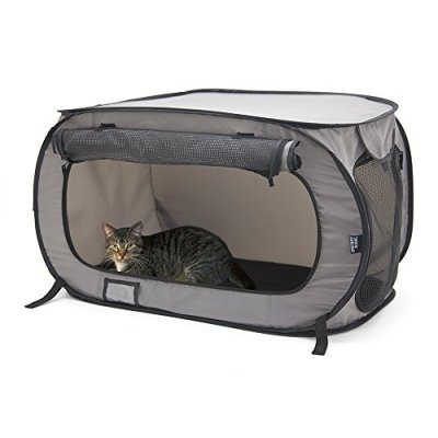 SportPet Designs Large Pop Open Kennel, Portable Cat Cage Kennel, Waterproof Pet bed, Carrier Collection