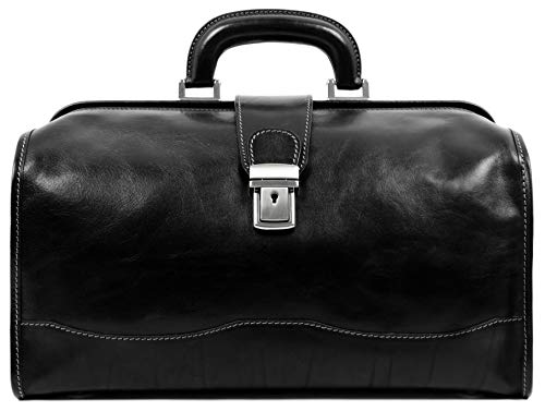Leather Doctor Bag Medical Satchel Unisex Brown - Time...