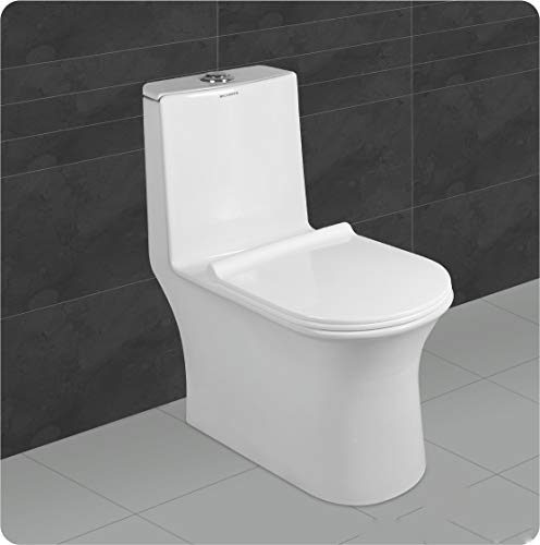 Belmonte Ceramic Floor Mounted One Piece Rimfree/Rimless Western Toilet/Commode/Water Closet/EWC Syphonic Tornado Flushing Svelta S Trap 230mm / 9 Inch (White)