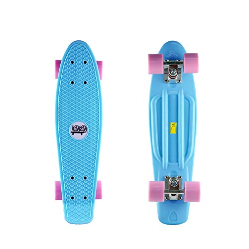 DINBIN Complete Highly Flexible Plastic Cruiser Board Mini 22 Inch Skateboards for Beginners or...
