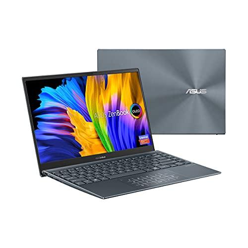 "ASUS ZenBook 13 Ultra-Slim Laptop, 13.3"" OLED FHD NanoEdge Bezel Display, Intel Core i7-1165G7, 8GB LPDDR4X RAM, 512GB SSD, NumberPad, Thunderbolt 4, Wi-Fi 6, Windows 10 Home, Pine Grey, UX325EA-ES71"