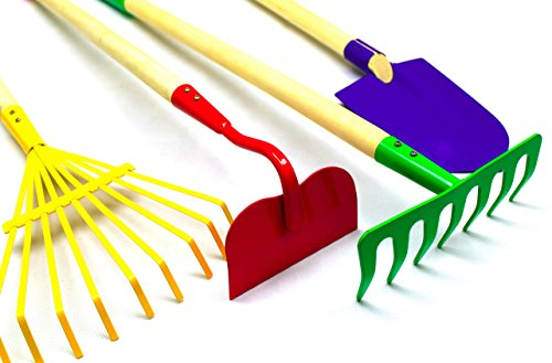 G-F-Products-JustForKids-Kids-Garden-Tool-Set-Toy-Rake-Spade-Hoe-and-Leaf-Rake-reduced-size-4-Piece