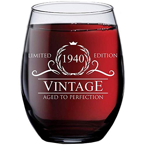 1940 80th Stemless Wine Glass