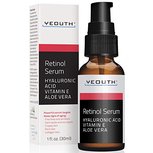 Retinol Serum 2.5% with Hyaluronic Acid, Aloe Vera, Vitamin E - Boost Collagen Production, Reduce Wrinkles, Fine Lines, Even Skin Tone, Age Spots, Sun Spots - 1 fl oz - Yeouth … (1oz)
