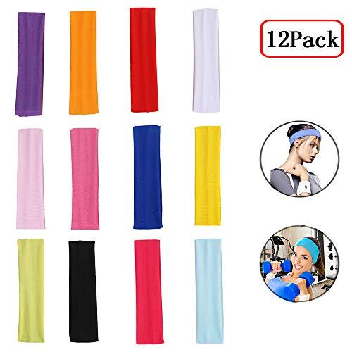 Fascia Capelli Donna, Headband, Headband Sport, 12 Pezzi Allungare Elastici Yoga Cotone Colori Misti per Adolescenti, Adulti, Ragazze e Donne