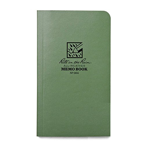 """Rite in the Rain All-Weather Soft Cover Pocket Notebook, 3 1/2"""" x 6"""", Green Cover, Universal Pattern (No. 964)"""