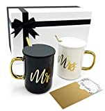 Triple Gifffted Mr and Mrs Coffee Mugs Gifts Set with Lids and Teaspoons for Wedding Anniversary, Married Couples, Engagement Gift, Bride, Women, Bridal Shower, Christmas, Luxurious Basket Packaging
