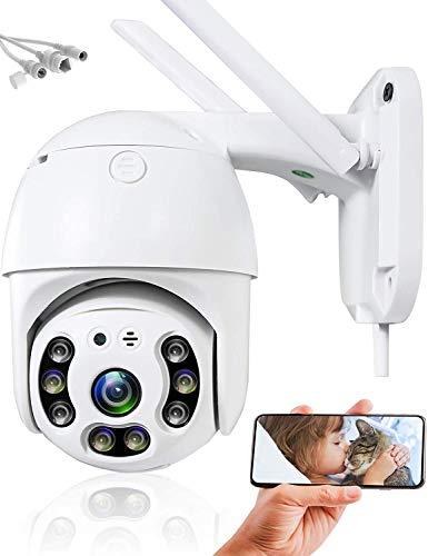 PTZ Telecamera di sorveglianza per esterni WiFi a 360 gradi, telecamera di sorveglianza IP, rilevamento automatico, allarme domestico, rilevatore di movimento, microfono WiFi, altoparlante