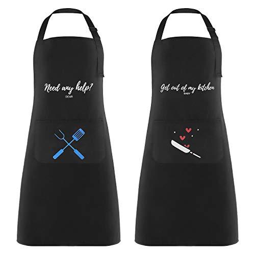 2 Piezas Delantales de Cocina Delantal Cocina Mujer Delantales Impermeables para Cocina Ajustables para Mujeres Hombres,Delantal Chefs Cocina para Cocinar/Hornear,Negro
