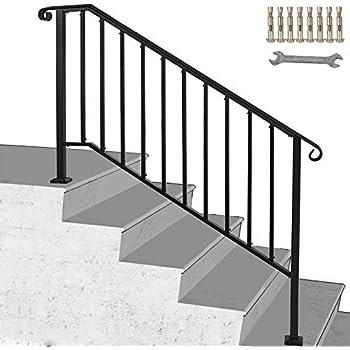 Happybuy Handrail Picket 4 Fits 4 Or 5 Steps Matte Black Stair   Outdoor Railings For Concrete Steps   Front Porch   Concrete Slab   Railing Ideas   Steel Handrail   Brick