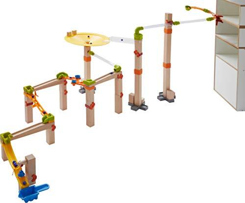 HABA 303968 - Kugelbahn – Master Construction Kit | Großes Kugelbahn-Set mit vielen Effekten | Bausystem mit unterschiedlichen Aufbaumöglichkeiten | Holzspielzeug ab 4 Jahren