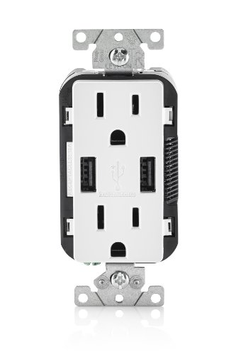 Leviton T5632-W 15-Amp USB Charger/Tamper Resistant Duplex Receptacle,...