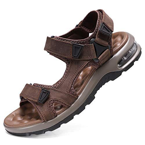 visionreast Sandalias deportivas para hombre, con cierre de velcro, de piel, para playa, senderismo, antideslizantes, para verano, marrón, 46 EU