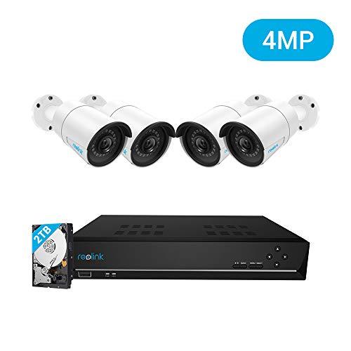 Reolink 8CH 4MP Kit Videosorveglianza IP Poe, 8CH 2TB Poe NVR con 4X 1440P HD Telecamera IP Poe Esterno Impermeabile, Sistema di Sorveglianza con Visione Notturna e Registrazione 24/7, RLK8-410B4