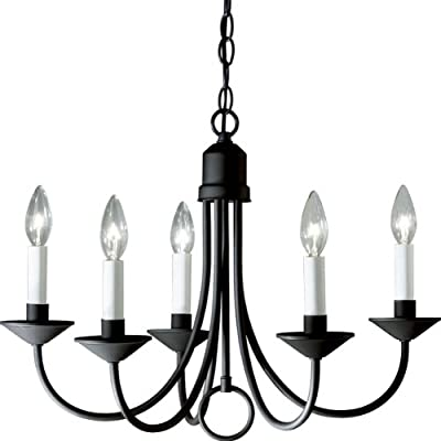 SIMPLE CLASSIC DESIGN: Incorporate a simple, classic lighting design into your home décor with the Five Light Collection's Five-Light Chandelier is ideal for any dining room or sitting room in new traditional or rustic settings WHITE-SLEEVED LIGHT BA...