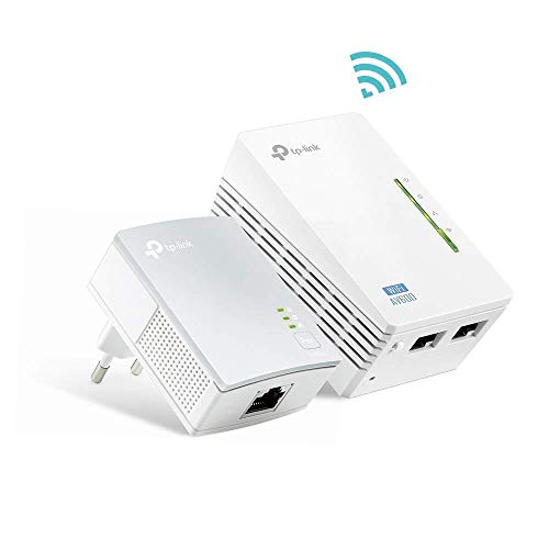 TP-Link TL-WPA4220 Kit Powerline WiFi, AV600 Mbps su Powerline, 300 Mbps su WiFi 2.4 GHz, 2 Porte...