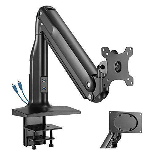 WORLDLIFT Single Monitor Mount for 17-43 inch LCD LED Screen, Heavy-duty Aluminium Gas Powered Height Adjustable Monitor Bracket Stand with Tilt Swivel Rotation, VESA 75/100/ 200x100mm, Weight 0-18kg