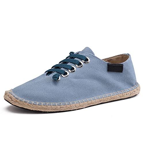 Alpargatas para Hombre Zapatos de Lona Ligeros y duraderos Zapatos Casuales Transpirables con Cordones Antideslizantes para Uso Diario