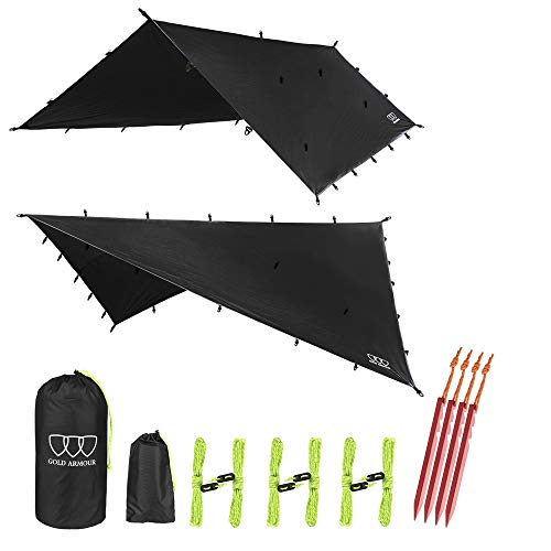 12ft Extra Large Tarp Hammock Waterproof Rain Fly Tarp 185in Centerline - Lightweight Ripstop Fabric - Stakes Included - Survival Gear Backpacking Camping Accessories - Multiple Colors (Black)